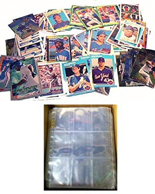 100 NEW YORK METS Baseball Cards + 10 Binder Pages