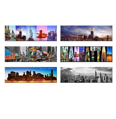 Win Pack Of 6 - New York Panoramic Photo Magnets Nyc Souvenir Gift Set 5X1.6 Inches cheapest