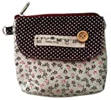 Polka dot and Floral fabric coin purse/wallet/pouch/wristlet with zip top and front velcro pocket to girls ladies teenagers on birthday gift souvenir - 002