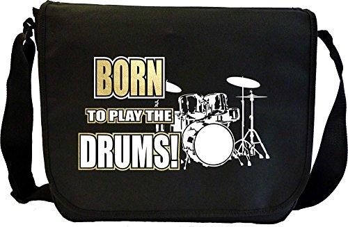 Drum Kit Born To Play - Sheet Music Document Bag Borsa Spartiti MusicaliTee
