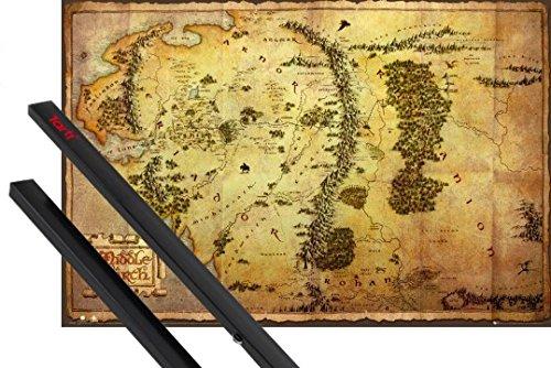 Poster + Sospensione : Lo Hobbit Poster Stampa (91x61 cm) Mappa Della Terra Di Mezzo e Coppia di barre porta poster nere 1art1®