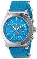 Salvatore Ferragamo Men's FF3020013 1898 Interchangeable Blue Red Canvas Strap Chronograph Date Watch by Salvatore Ferragamo