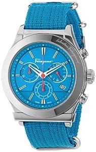 Salvatore Ferragamo Men's FF3020013 1898 Interchangeable Blue Red Canvas Strap Chronograph Date Watch by Salvatore Ferragamo