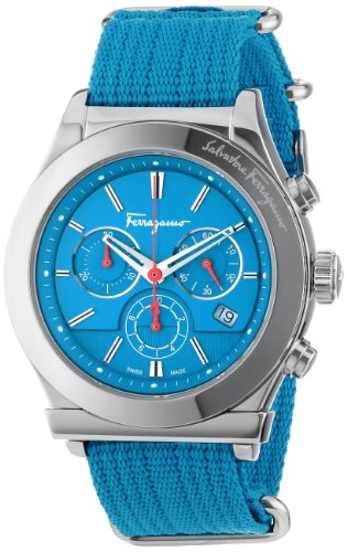 Ferragamo Men's FF3020013 1898 Interchangeable Blue Red Canvas Strap Chronograph Date Watch