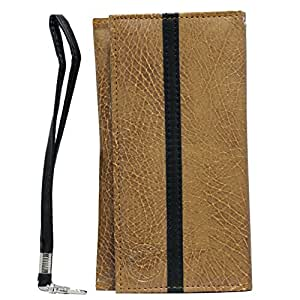 Jo Jo A5 S Seies Leather Wallet Universal Pouch Cover Case For Samsung Galaxy Core 2 Tan Black