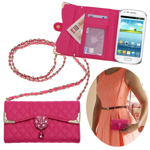Xtra-Funky Exclusive Luxury Faux Leather Quilted Handbag Purse Style Case With Carry Strap And Beautifully Decorated Crystal Flower For Samsung Galaxy S3 Mini (I8190) - Hot Pink (Includes A Mini Stylus And Lcd Screen Protector Film)