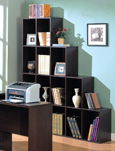 Brown Home Office Bookcase Wood Book Shelf Wooden