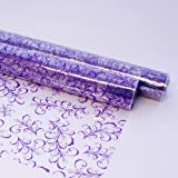 5m x 80cm SAGE LEAF Cellophane Roll - DARK LILAC PURPLE on Clear Florist Flower Foliage Gift Hamper Film Wrap - 5 Metres