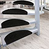 Kit de 15 marchettes d'escalier casa pura® Sphinx à poil long   amortissantes et résistantes   noir...