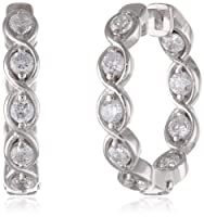 Sterling Silver and Simulated Diamond Twisted Hoop Earrings by PAJ, Inc