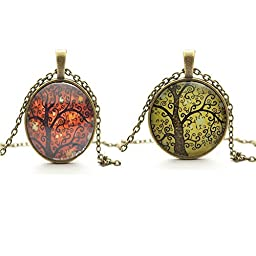 TL Set of 2 Vintage Ladies\' Necklace the Tree of Life Glass Gem Pendant Long Chain Blessing Necklaces