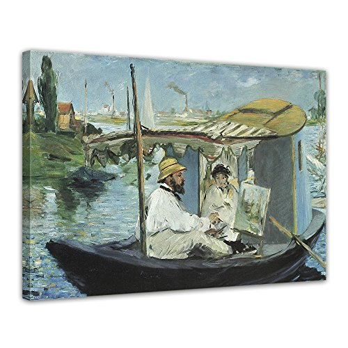 "Bilderdepot24 Leinwandbild Édouard Manet - Alte Meister ""Die Barke"" 70x50cm - fertig gerahmt, direkt vom Hersteller"