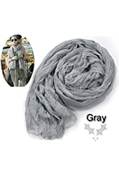 Grey Women's Long Crinkle Scarf Wraps