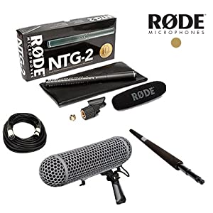 Rode NTG-2 Multi-Powered Condenser Shotgun Microphone for Camcorders / Rode Blimp / Rode Micro Boompole / Talent XLR Cable 20ft