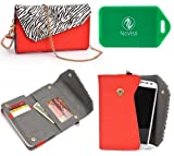 Safari Series wallet w/phone holder in Zebra Print PLUS accommodating wristlet strap and chain for cross body use in Red with Black and White printfor Alcatel One Touch Star