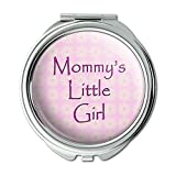 Mommys Little Girl Pink With Flowers Compact Purse Mirror