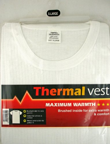 Mens THERMAL T SHIRT SHORT SLEEVED Vest Winter Underwear LRG White - 0.45 TOG RATING
