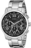 GUESS Men's U0379G1 Silver-Tone Chronograph Watch with Black Dial
