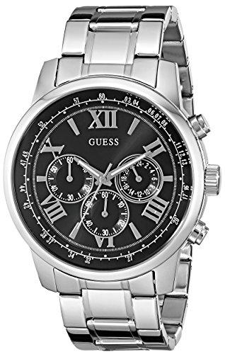 Guess U0379G1 45 mm de acero de plata de la pulsera y el caso de minerales para el reloj de los hombres