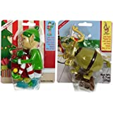 Holiday Fun Pooping Candy Dispensers Novelty Gift Variety Bundle: (1) Pooping Elf Candy Dispenser, and (1) Pooping Doggie Deer Candy Dispenser, .7 Oz. Ea.