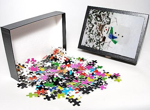 Photo Jigsaw Puzzle Of Snowman - With Scarf A Hat In Winter Scene front-893730