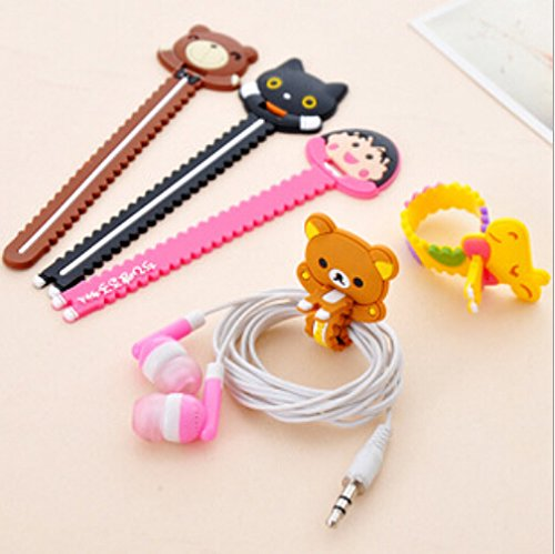 Set of 6 Lovely Cute Cartoon Animal Cable Cord Wire Tidy Tie Strap Cord Headphone Earphone Cable Organizer OFFICE-147 (Headphone Cord Ties compare prices)