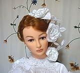 【髪飾り】ブライダル♪OnlyOneSilkAccessories丹後ちりめんヘアアクセサリー花「WeddingWhiteRose4点セット」【A.POINT】1-20