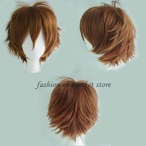 Unisex Short Wig Cosplay Full Wigs Curly Hair Tail Haircut Costume Wigs Fancy Dress Costume Party Christmas Halloween (lght brown)