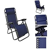 Magshion*Single Lounge Chair Recliner Reclining Patio Pool Beach outdoor Folding Chair (Navy Blue)