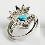 AMDXD Jewelry 18K Gold Plated Women Promise Rings Wedding Engagement Bands Heart Flower Blue CZ Size 8