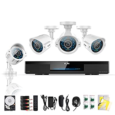 ELEC® New 4 CH Channel CCTV HDMI 960H Realtime DVR Recorder 4 Outdoor 600tvl H.264 Night Vision Camera 1TB Hard Drive Home Surveillance Security IR Video Camera System Internet & 3G Kit