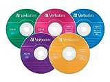 Verbatim 700MB 52x 80 Minute Color Branded Recordable Disc CD-R, 25-Disc Slim Case  94611