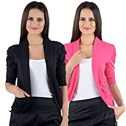 Black & Pink Cotton Gathering Sleeve Regular Fit Shrugs (Combo Set of 2)