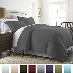 Beckham Hotel Collection® Luxury Soft Brushed 1800 Series Microfiber 3 Piece Duvet Cover Set - Full/Queen, Gray