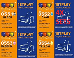4 Full Sets JETPLAY : 16 High Capacity Compatible Ink Cartridges Multipack - T551 T552 T553 T554 for Epson Stylus Printers R240 R245 RX420 RX425 RX520 JETPLAY Replacements for T0551/T0552/T0553/T0554