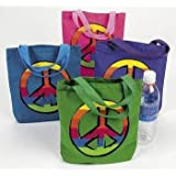 "12 PEACE SIGN Canvas TOTE Bags/HIPPIE/60s RETRO/8.5""/Dozen BIRTHDAY PARTY FAVORS"