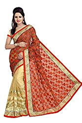 Radhe Krishna Creation Women's Net saree(RKC05,Red)