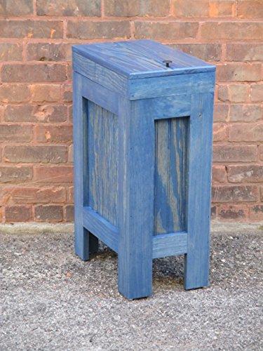 Wood Wooden Trash Bin Kitchen Garbage Can 13 Gallon , Recycle Bin, Dog Food Storage , Island Blue Stain - Pine - Handmade in USA By Buffalowoodshop (Kitchen Wood Trash Bin compare prices)