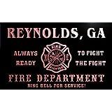 qy52844-r FIRE DEPT REYNOLDS, GA GEORGIA Firefighter Neon Sign Barlicht Neonlicht Lichtwerbung