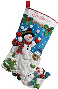Bucilla 18-Inch Christmas Stocking Felt Applique Kit, Snowman Games