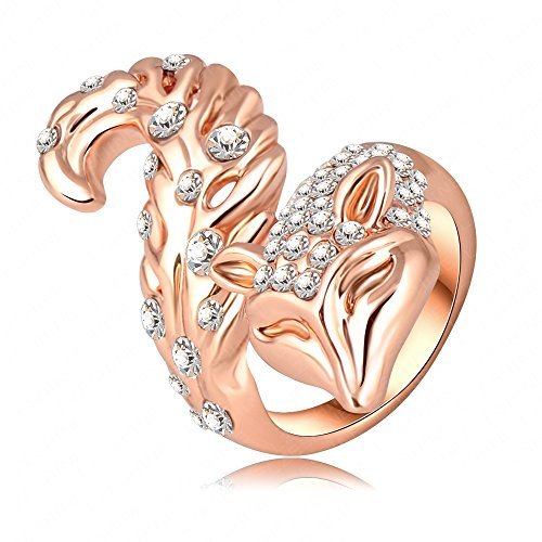 K-Design Hot Sale Luxury Ring Genuine 18K Rose Gold Plated Austrian Crystal Classic Fox Shape Engagement Rings Fashion Jewelry Ri-Hq0117 9.0