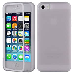 For Apple iPhone 5 5S Flip Front Touch Skin + Soft TPU Gel Back Case Cover Color Clear White