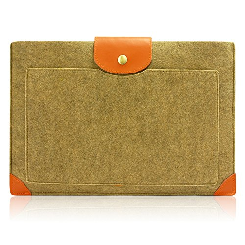 Lavievert Felt Sleeve Laptop Case with Brown Leather Bag for Apple 11'' Macbook Air Cover 11'' Macbook Camel Sleeve