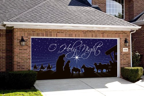 Garage door christmas decorations for Outside garage decorations
