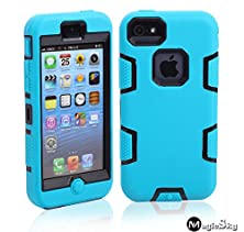 buy 5C Case, Iphone 5C Case Cover, Magicsky Full Body Hybrid Impact Shockproof Defender Case Cover For Apple Iphone 5C, 1 Pack(Black/Blue)