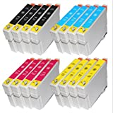 16 Inks T1281 T1282 T1283 T1284 Work for Epson Stylus SX 125 Printer (4x T1281 4x T1282 4x T1283 4x T1284) Multipack 4 full Set T1285 printing Ink Cartridges Also Compatible Epson Stylus S22 SX125 SX130 SX420W SX425W SX430W SX435W SX438W SX440W SX445W &