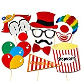 COOLOO Photo Booth Props Diy Kit,Circus Clown Cosplay For Photography in Carnival Party,Pack of 13