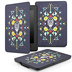 MoKo Case for Kindle Paperwhite, Premium Thinnest and Lightest Leather Cover with Auto Wake / Sleep for Amazon All-New Kindle Paperwhite (Fits All 2012, 2013 and 2015 Versions), Wolf Totem