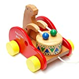 Vococal-Juguete música de Bear Cub batir tambor / Tirar Coche de juguete de madera para Bebé Niño