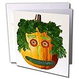 Sandy Mertens Halloween Food - Pumpkin Veggie Face - 12 Greeting Cards with envelopes (gc_6019_2)